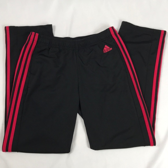 adidas Pants - Adidas- Black/red 3 stripe track pants size M